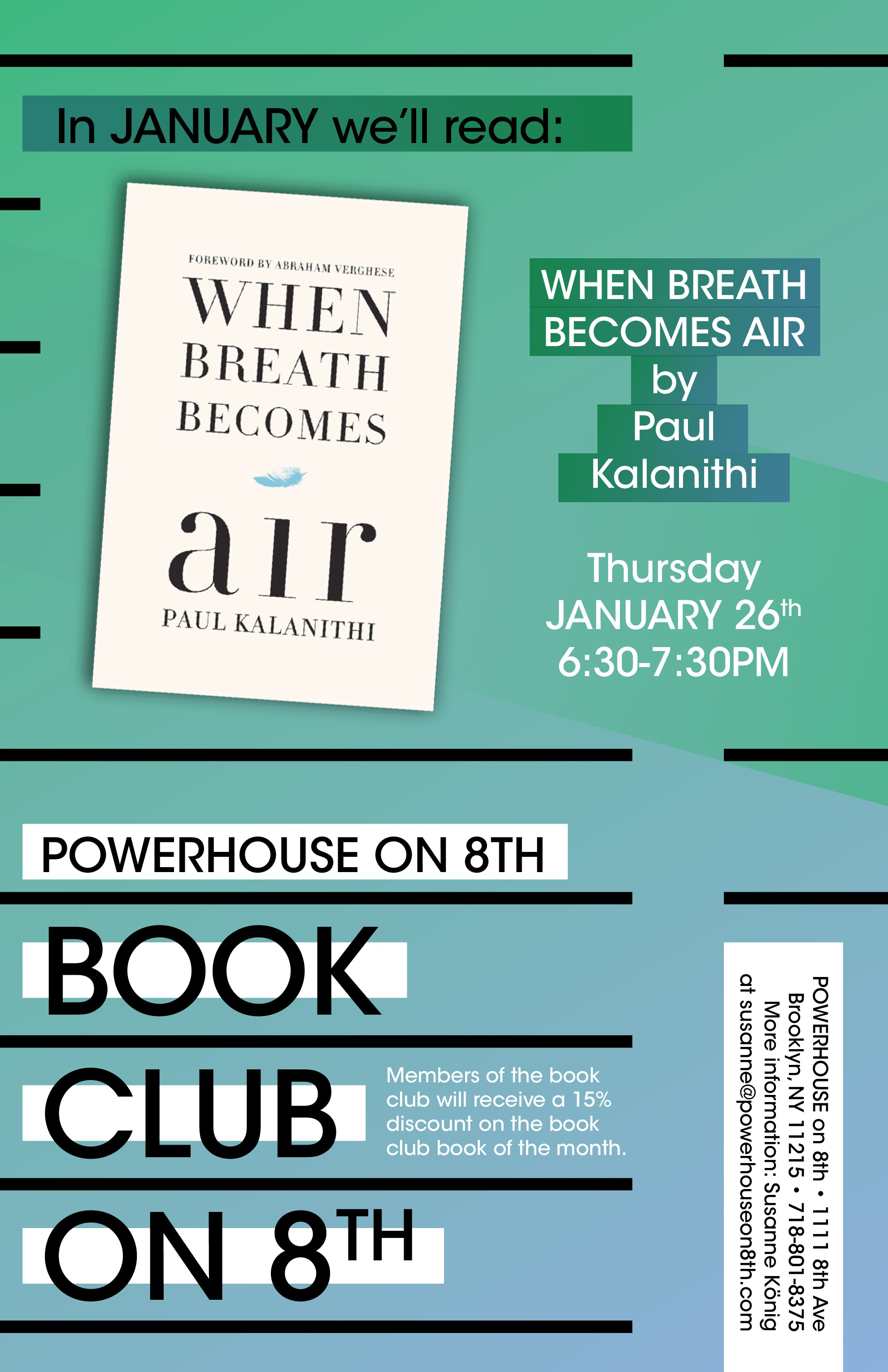 Book Club on 8th: When Breath Becomes Air by Paul Kalanithi