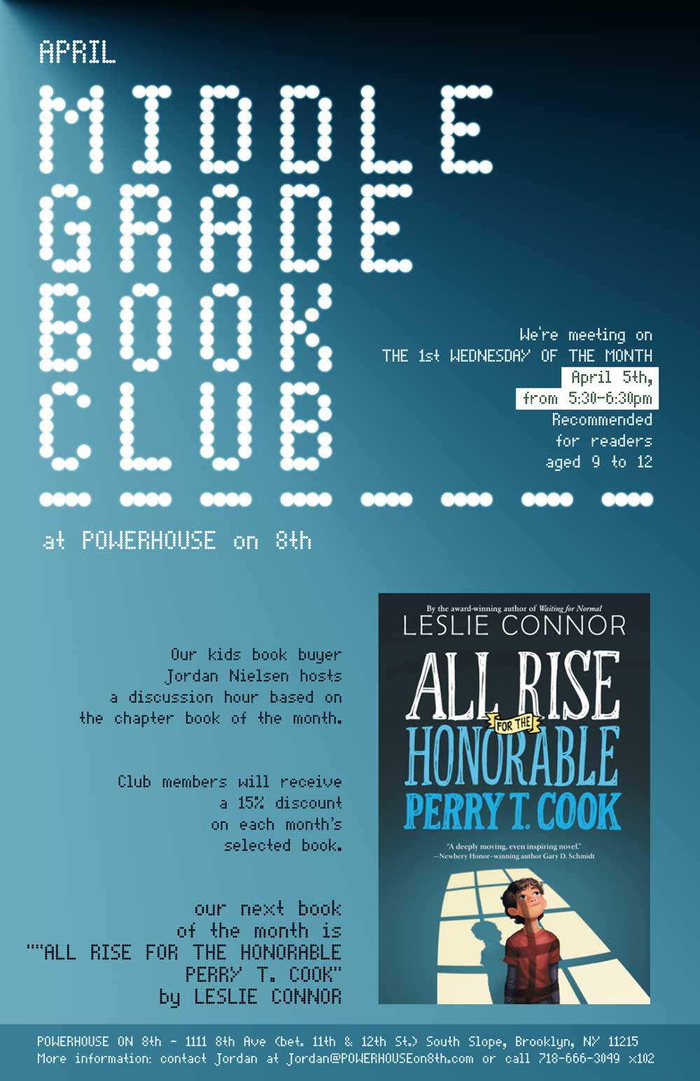 Middle Grade Book Club: All Rise for the Honorable Perry T. Cook by Leslie Connor
