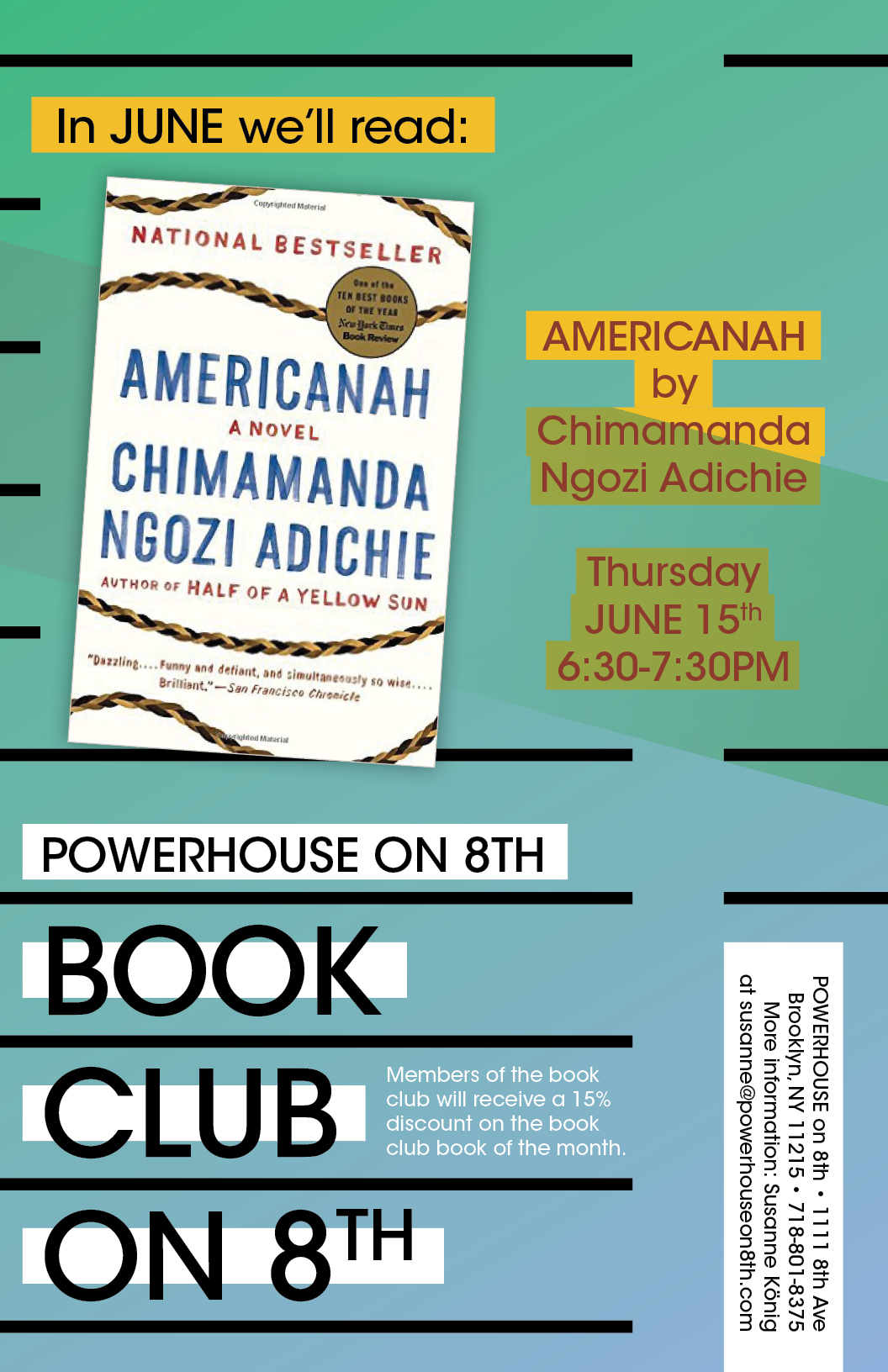 Book Club on 8th: Americanah by Chimamanda Ngozi Adichie