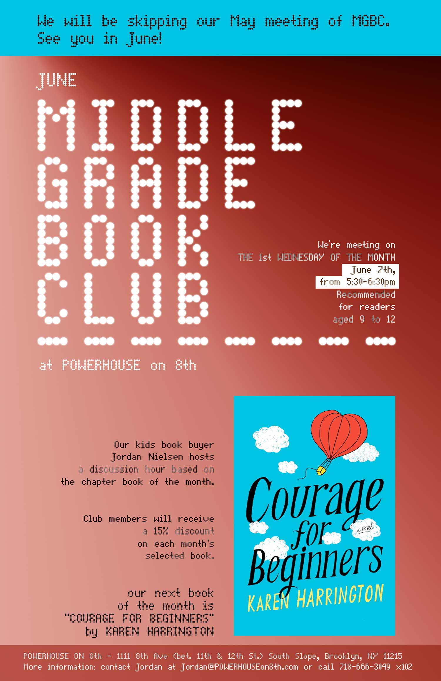 NEW DATE: Middle Grade Book Club: Courage for Beginners by Karen Harrington