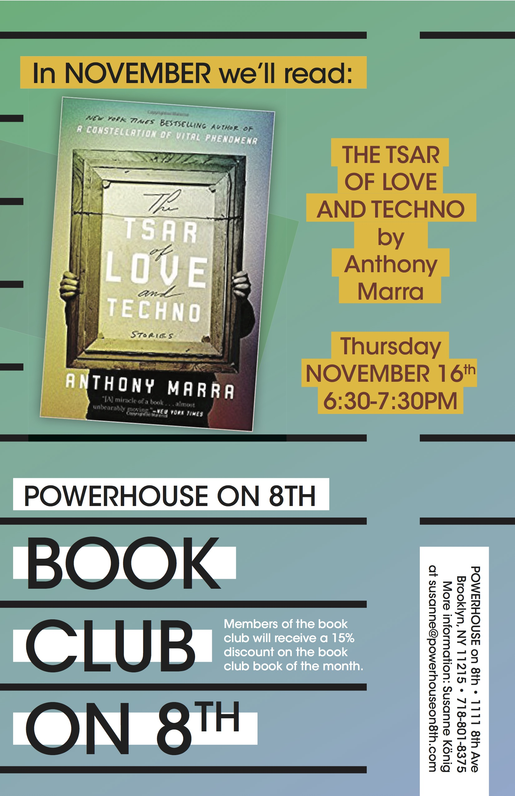 Book Club on 8th: The Tsar of Love by Anthony Marra