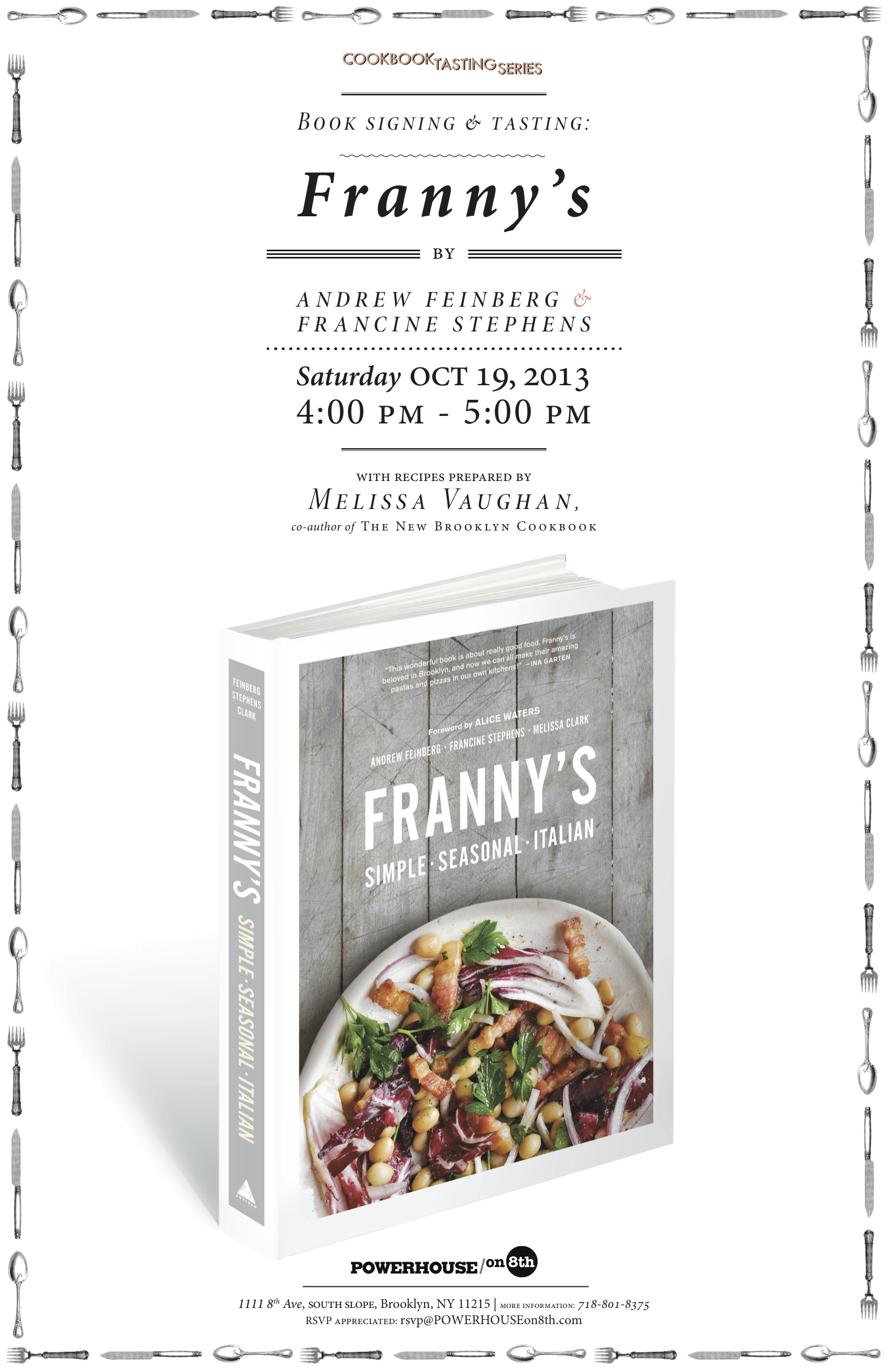 Cookbook Tasting Series with Melissa Vaughan: Franny's by Andrew Feinberg & Francine Stephens