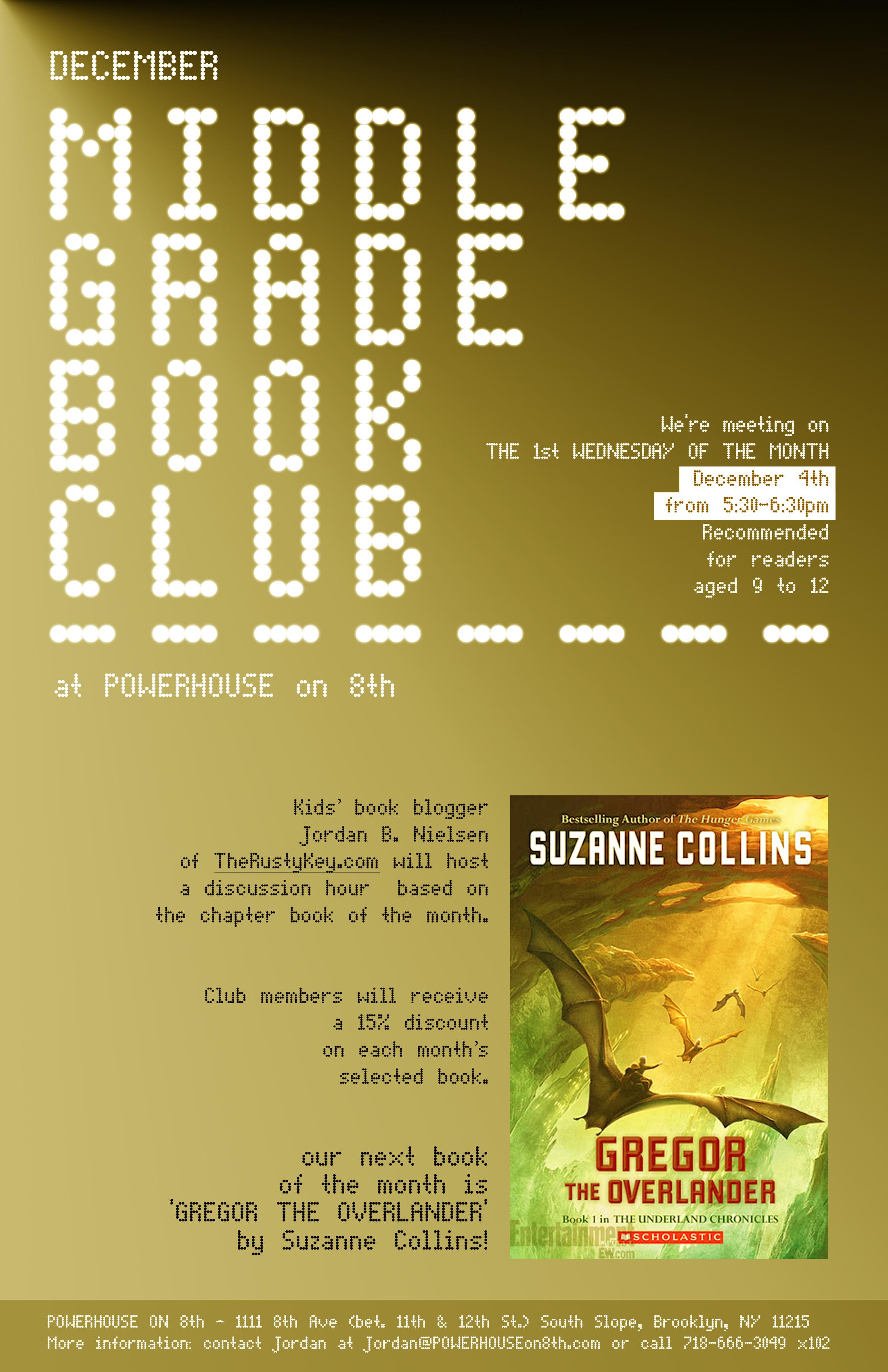 December Middle Grade Book Club: Gregor the Overlander by Suzanne Collins