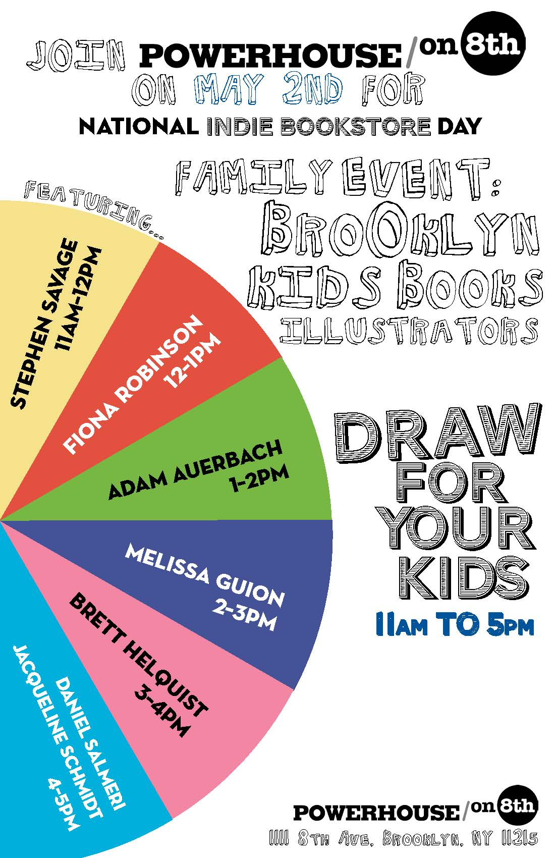 POWERHOUSE on 8th Family Event and May 2nd Indie Bookstore Day: Brooklyn Kids Book Illustrators Draw for your Kids
