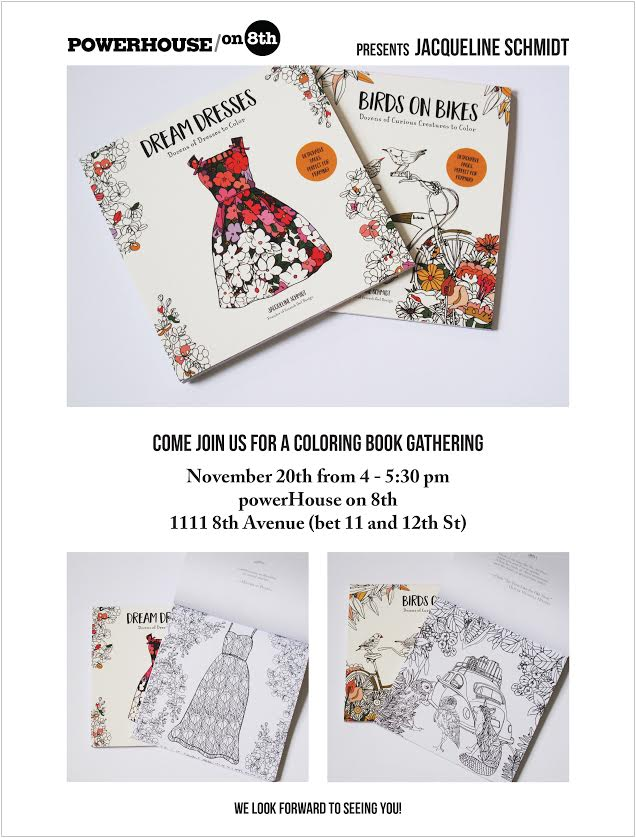 Coloring Book Event: Birds on Bikes and Dream Dresses by Jacqueline Schmidt