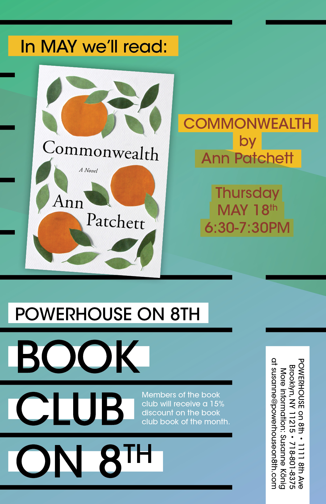 Book Club on 8th: Commonwealth by Ann Patchett