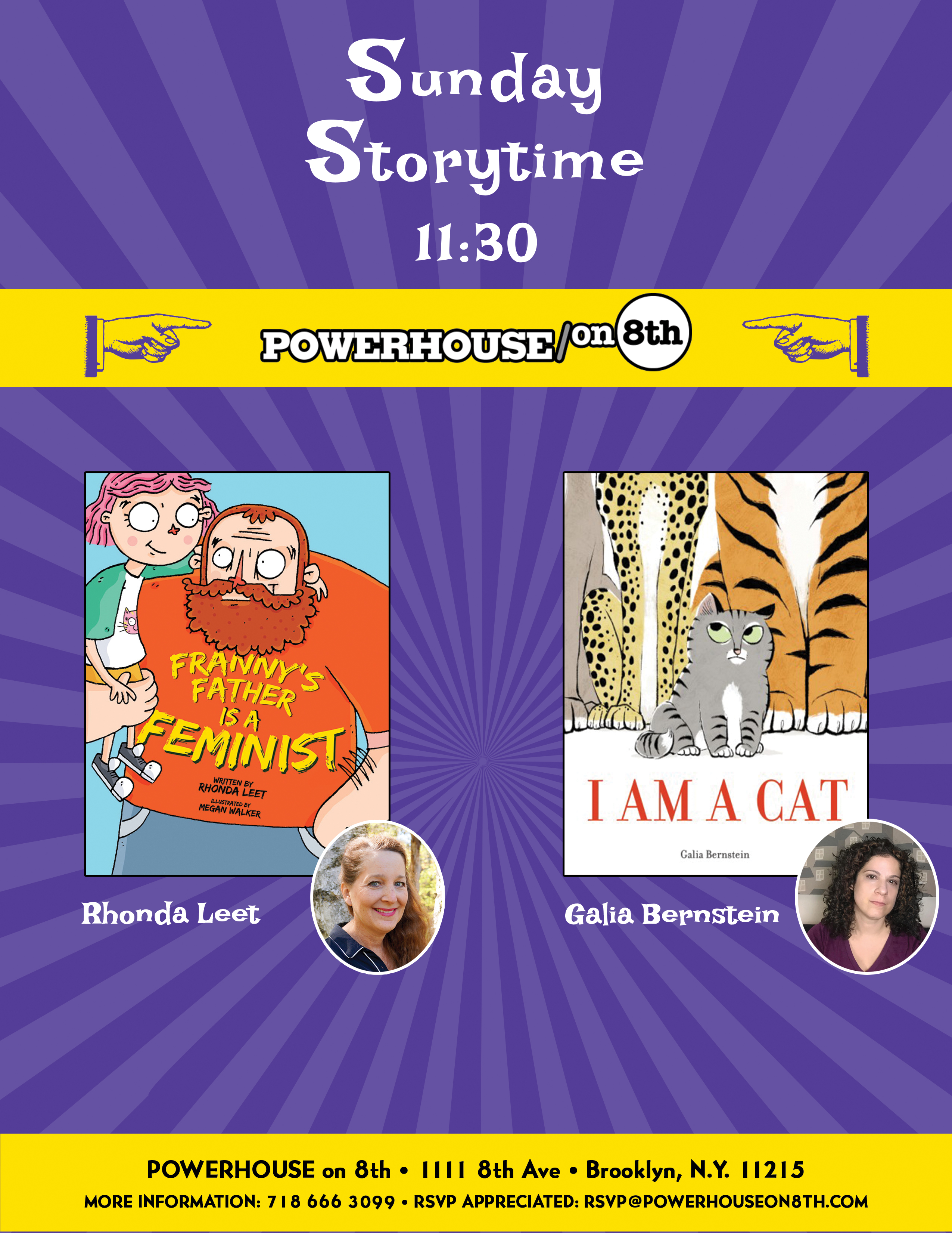 Joint Sunday Story Time with Galia Bernstein (Author & Illustrator of I Am a Cat) & Rhonda Leet (Author of Franny's Father is a Feminist)